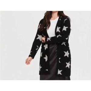 Torrid Womens Star Sweater Cardigan Plus Size 4 Black Warm Cozy Long Open Front